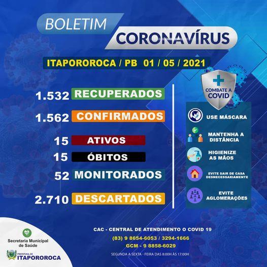 BOLETIM EPIDEMIOLÓGICO ITAPOROROCA-PB (01/05/2021)