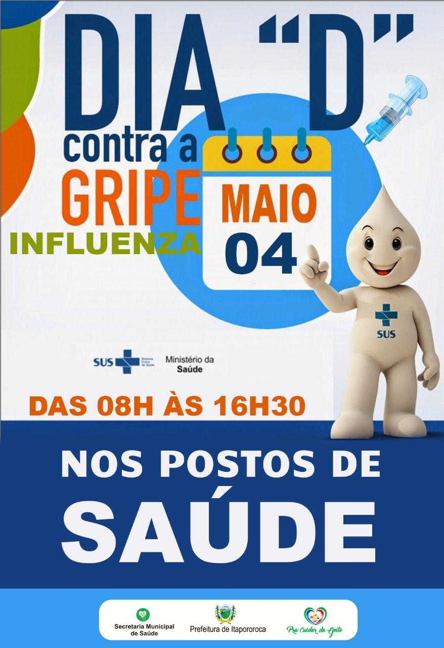 ITAPOROROCA REALIZA DIA D DA CAMPANHA DE VACINAÇÃO CONTRA INFLUENZA NESTE SÁBADO (04/05)