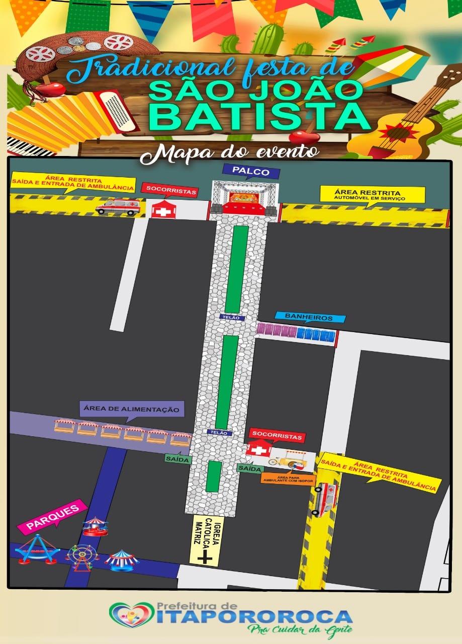 Mapa da Festa Tradicional de São João Batista