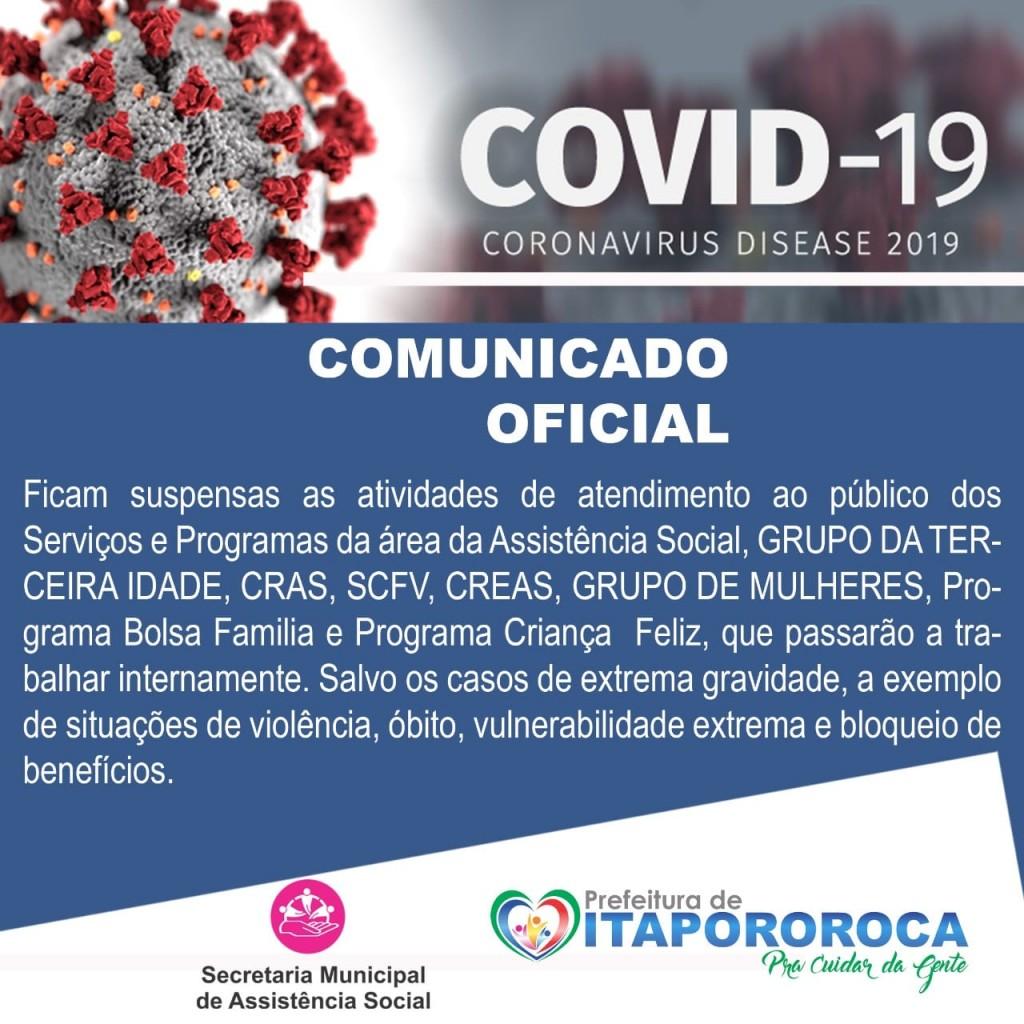 COMUNICADO OFICIAL DA SECRETARIA DE ASSISTÊNCIA SOCIAL