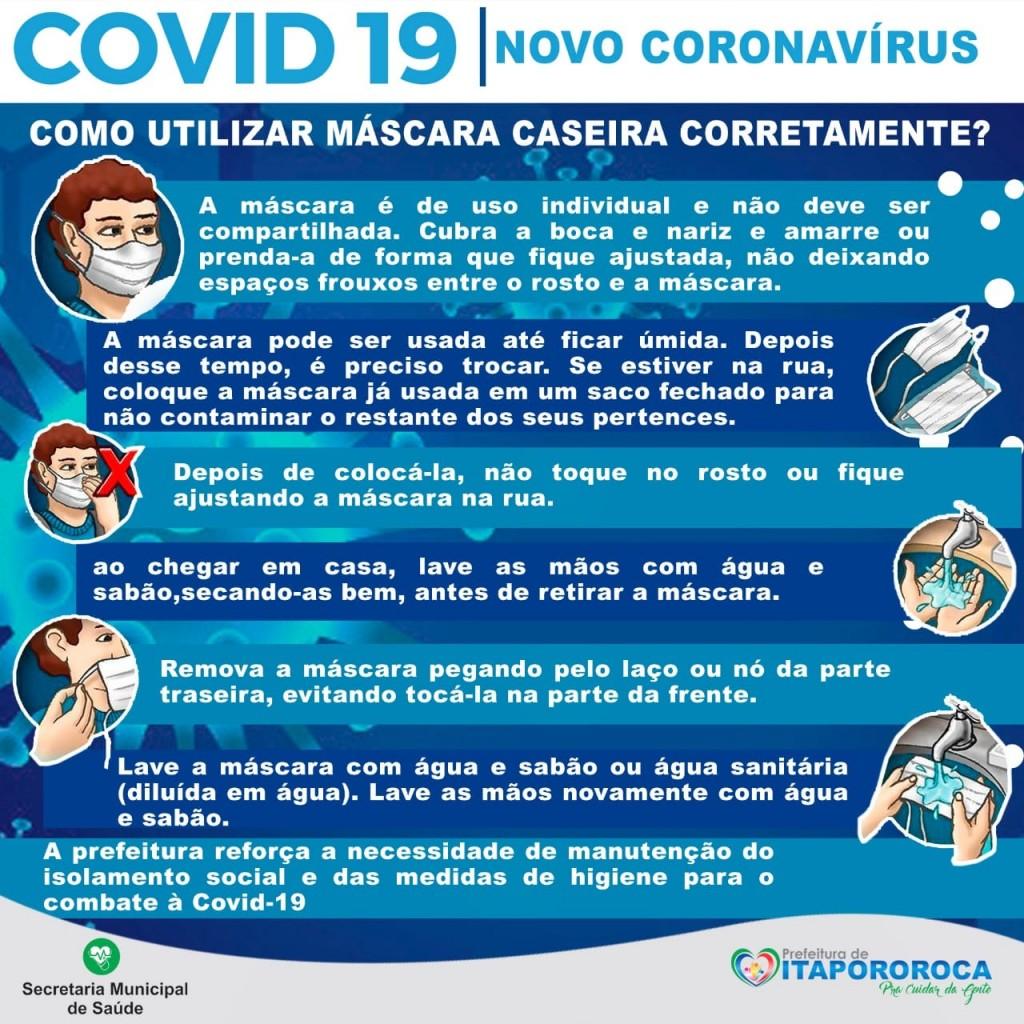 Secretaria de Saúde de Itapororoca orienta uso de máscaras caseiras como reforço à prevenção da covid-19.