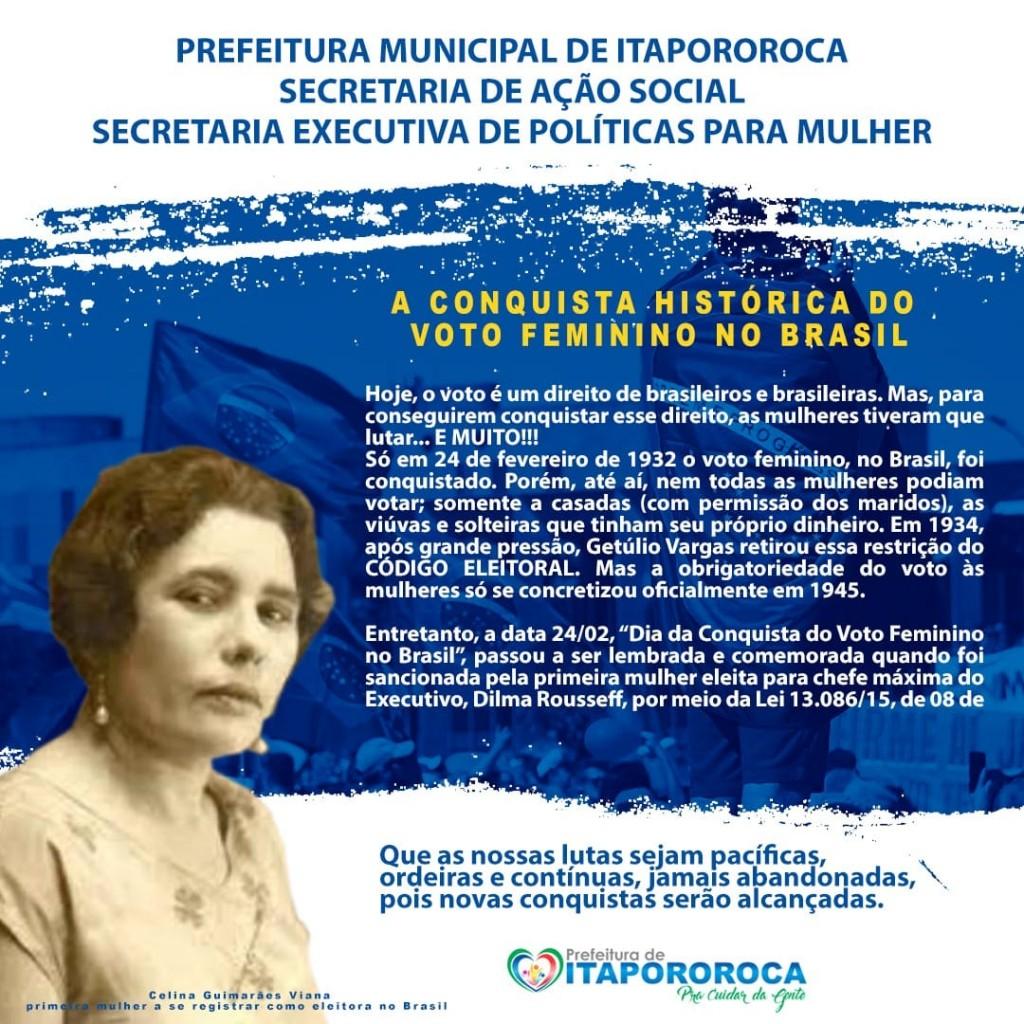 """Dia 24 de Fevereiro """" A Conquista Histórica do Voto Feminino no Brasil""""."""